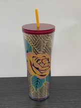 Starbucks Fall 2020 Gold Quilted Rose Venti Tumbler 24oz - $49.49