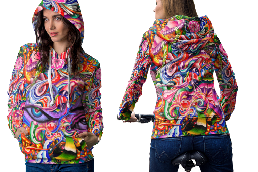 Psychedelic face dna trippy tongue dmtt hoodie women