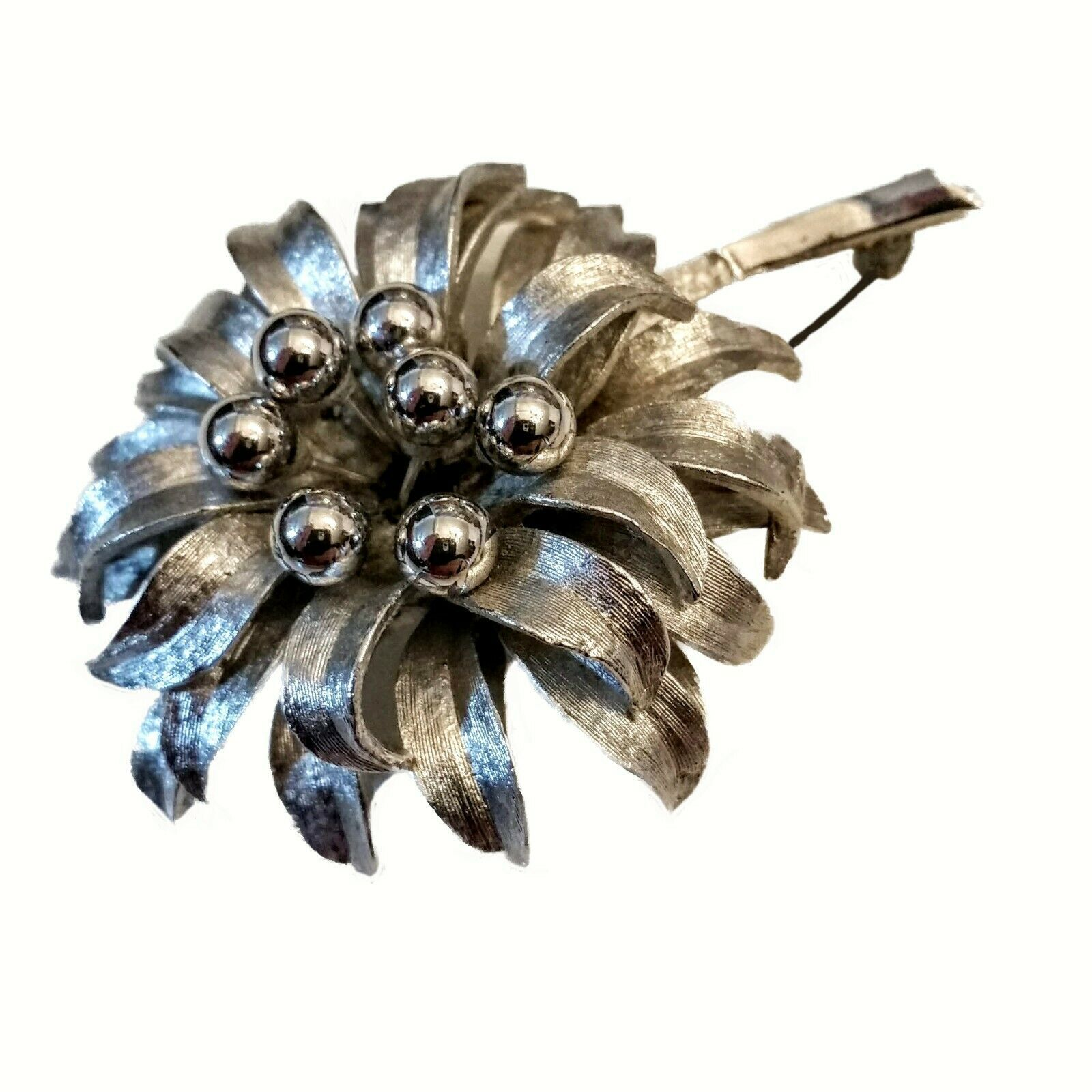 Primary image for PASTELLI Flower Pin Silvertone Brooch VTG Art Deco Floral ORB Mid Century Modern