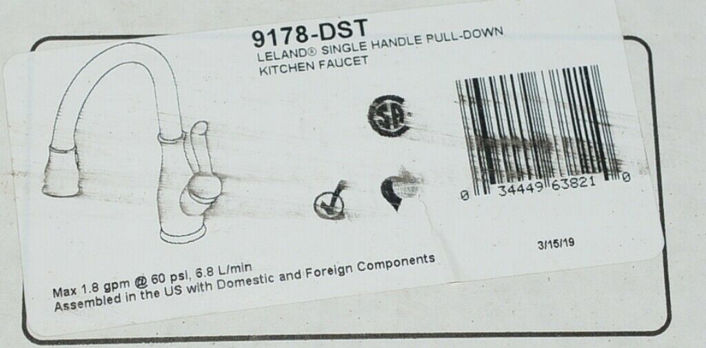 Delta 9178DST Leland Single Handle Pull Down Kitchen Faucet Shieldspray