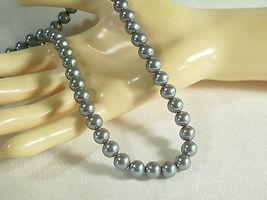 Vintage Kyska Steel Grey Faux Pearls Choker Necklace Pearly Gray Office Career - $11.39