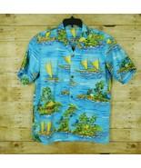 Royal Creations Men Short Sleeve Hawaiian Shirt Large Boats Huts Palm Tree - $19.25