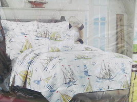 Boat House Sailing Ship & Lighthouse Full / Queen Quilt & Std Shams  NWT  - $170.00