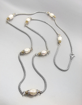 LUXURIOUS Designer 18kt White Gold Plated Box Chain Genuine Pearls Long Necklace - $39.99