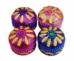 A Set Of 4Pcs Mirror Work Beaded Multi Jewellery Boxes 1.3 Inches - £7.36 GBP
