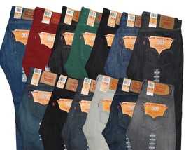 Levi's 501 Men's Blue Black Green Red Beige Jeans 32 34 36 38 40 42 31 3... - $44.69+