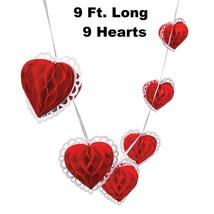 "Tissue Paper Valentine 9 Heart Garland (9 Feet Long) 6"" Hearts - $8.54"