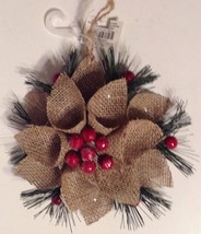 Christmas Ornament Burlap Poinsettia Flower New - $12.82