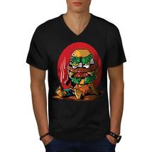 Funny Hamburger Shirt Junk Food Men V-Neck T-shirt - $12.99+