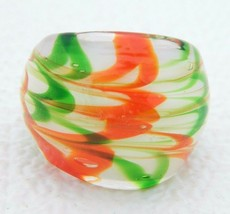 Vintage Orange Green White Swirl Abstract Glass Ring Size 6 - $19.80