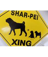 SHAR-PEI XING CROSSING SIGN Mama Dog & Pups 12x12 Metal TORI 1988 NEW St... - $28.50
