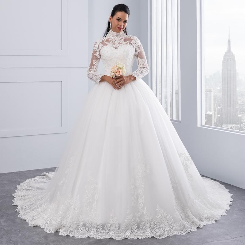 High Neck IIIusion Back Long Sleeve Wedding Dress Lace Ball Gown Wedding Gowns