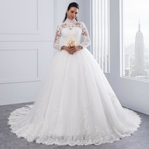 High Neck IIIusion Back Long Sleeve Wedding Dress Lace Ball Gown Wedding... - $499.99