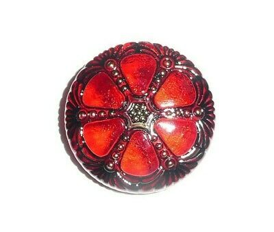 Primary image for Pretty Red Garnet w/ Gold & Black Finish Czech Glass Wheel Button 27mm