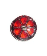 Pretty Red Garnet w/ Gold & Black Finish Czech Glass Wheel Button 27mm  - $6.92