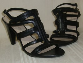 FRANCO SARTO Abby Black Leather Strappy Heels Sandals Women's Size US 9.5, Used  - $15.83
