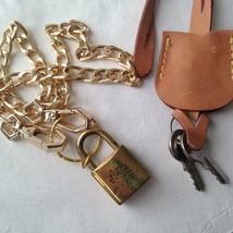 Vintage Etro Padlock-2Keys Charm-Pendant 40in Silver Tone Chain Necklace - $75.95
