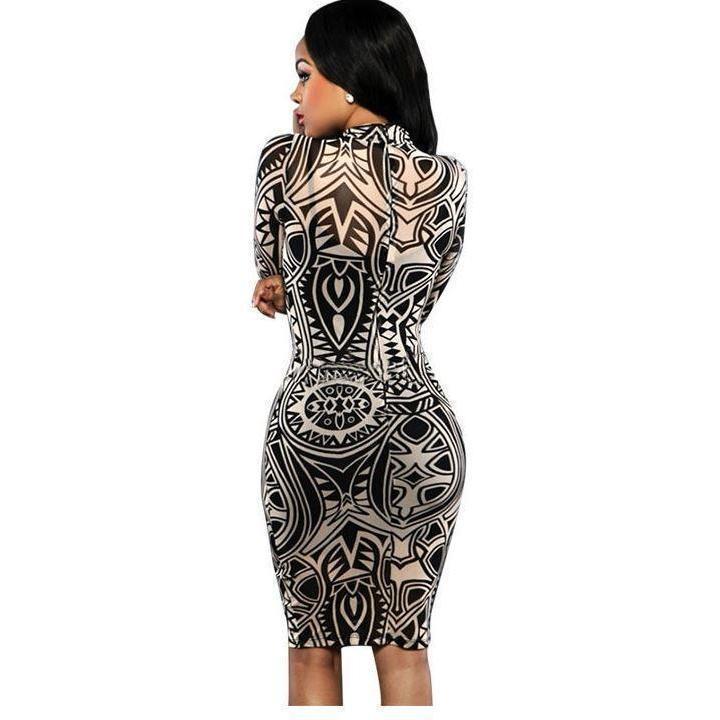 Tribal Print Mesh Full Sleeve Women Bodycon Party Dress