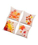 4 Pieces Autumn Pillow Case, Fall Maple Leaves Pillow Cover, Fall Pillow... - $23.99