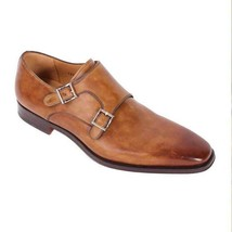 Handmade Men's Brown Leather Monk Strap Oxford Shoes image 3