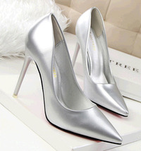 pp353 Elegant candy color sharpy heels, patent color, US Size 4-8.5, silver - $48.80