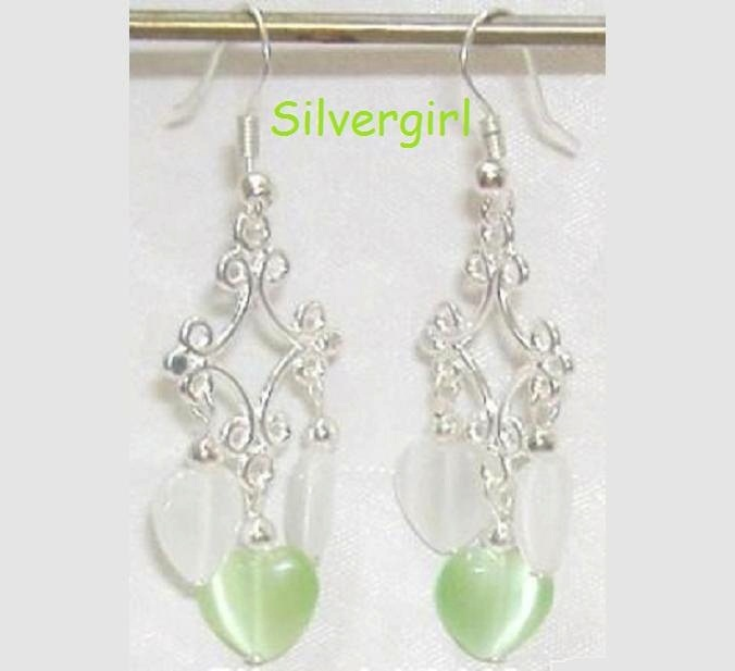 Fiber Optic Green White Heart Silver Chandelier Earring