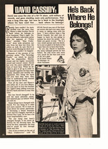 David Cassidy teen magazine pinup clipping He's back where he belongs Teen Beat