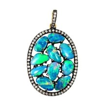 Opal Gemstone Sterling Silver Pave Diamond Pendant 14k Gold Antique Look... - $558.09