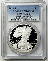 2012S American Silver Eagle Proof PCGS PR70 DCAM Coin & Currency Set Lot 519-51