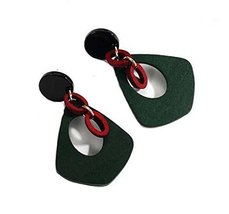 European Style Woody Individuality Earrings Asymmetric Earrings,Green