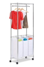 3 Bags Rolling Laundry Triple Sorter Adjustable Clothes Hanging Racks Ch... - $73.06