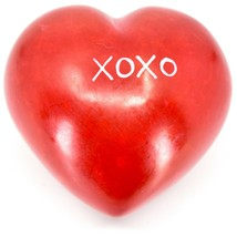 "Vaneal Group Hand Carved Soapstone 2-Sided Red ""XOXO"" Love Heart Paperweight image 2"