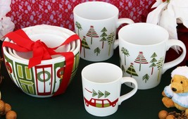 CRATE & BARREL YULE MUGS AND BOWL SET – NWT – PERFECT FOR MAMA, PAPA & B... - $37.46