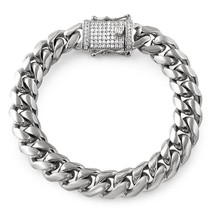 CZ Diamond Lock 14MM Cuban Bracelet Stainless Steel - $19.96