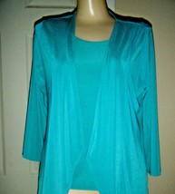 CHICO'S ADDITIONS TURQUOISE STRETCH KNIT JACKET & TANK TOP SZ CHICO'S 0 - $29.02