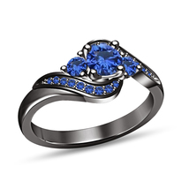 14K Black Gold Finish Pure 925 Silver Blue Sapphire Engagement Wedding Ring - $76.98