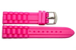 20MM Hot Pink Silicone Jelly Rubber Sport Watch Band Fits Fossil Riley - $9.89