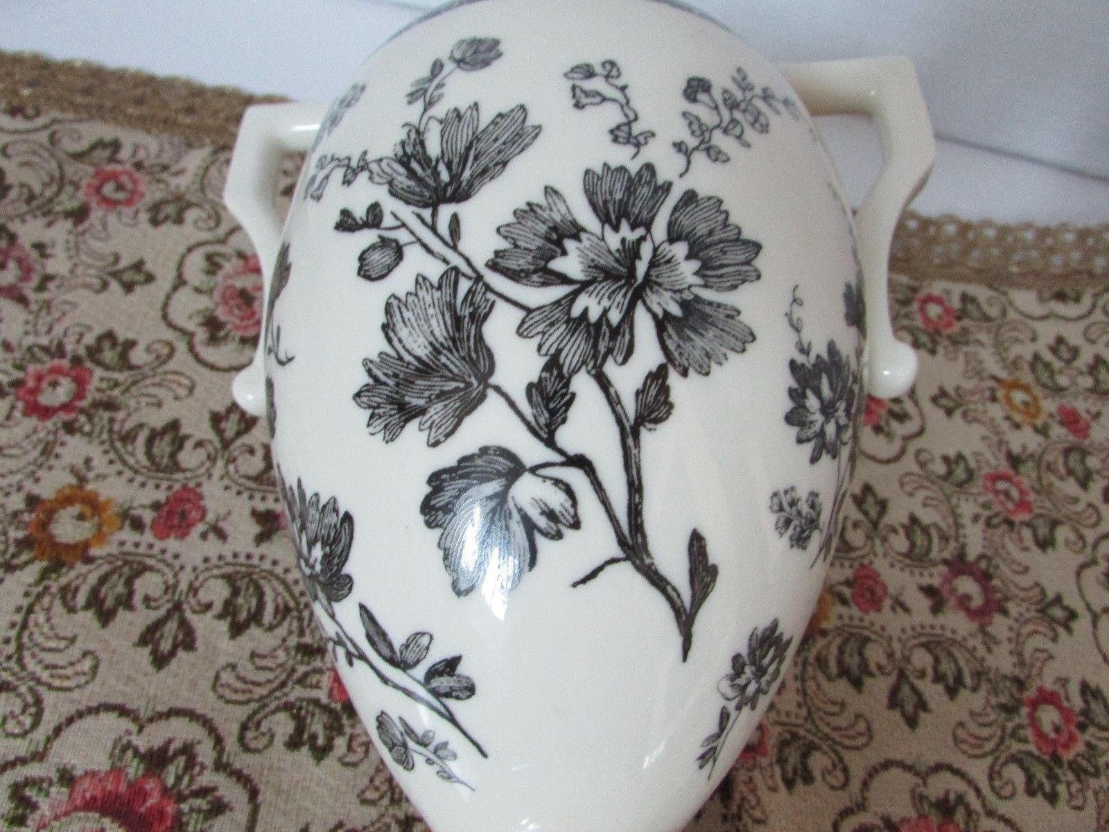 "LENOX CHINA THE FLORAL ELEGANCE VASE 9""H SEPIA FLOWER URN IVORY & BLACK 2002 L2"