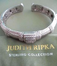 Judith Ripka Sterling Diamonique Textured Hinged Cuff Bracelet Sz AVG Box/Pouch image 4
