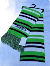 Seattle Seahawks Stripes Knit Scarf With Team Logo New 100% Acrylic - $16.59