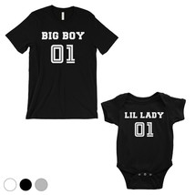 365 Printing Big Boy Little Lady Dad and Baby Matching Outfits Cute Fath... - $29.99+