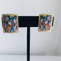 Vintage square plastic Impressionist Artwork Clip-on Earrings J6734 - $14.24