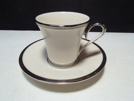 Lenox Solitaire Dimension Collection - Cup & Saucer - Ivory w/ Platinum ... - $9.95