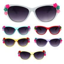 Girls Kids Size Plastic Flower Jewel Cat Eye Sunglasses - $8.95