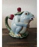 Classic Majolica Pottery Frog Teapot Henriksen Imports Lily Pad Blue Green - $39.99