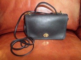 7H/VINTAGE AUTHENTIC COACH USA LEGACY LEATHER FLAP CROSSBODY/BLACK/BAG/C... - $59.35