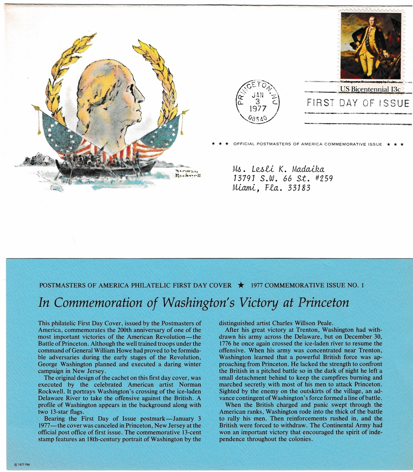 1st Day of Issue, Washington 13 cent USPS Stamp, Official Postmasters of America