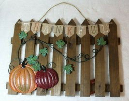 Celebrate Fall Wooden Thanksgiving Fence Wall Hanging Harvest Decoration - $34.42