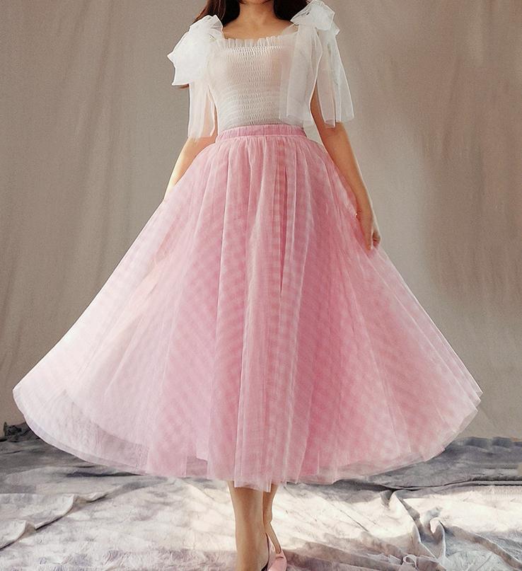 Tulle skirt pink plaid 7