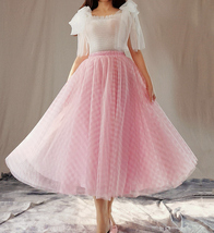 Women's Tulle Midi Skirt Pink Plaid Tulle Skirt A Line High Waist Party Skirts